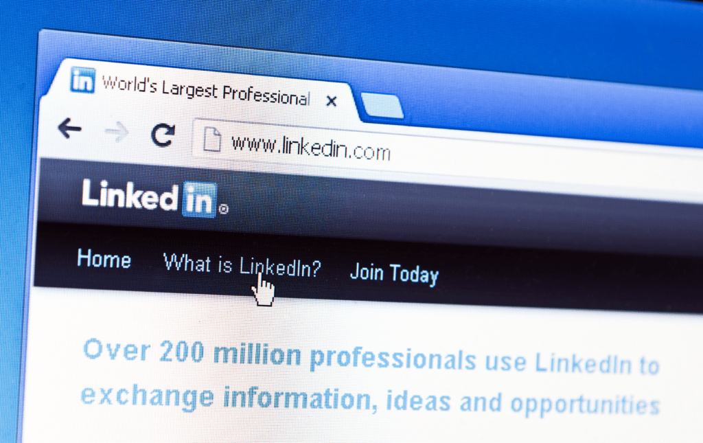 Image of the LinkedIn home page.