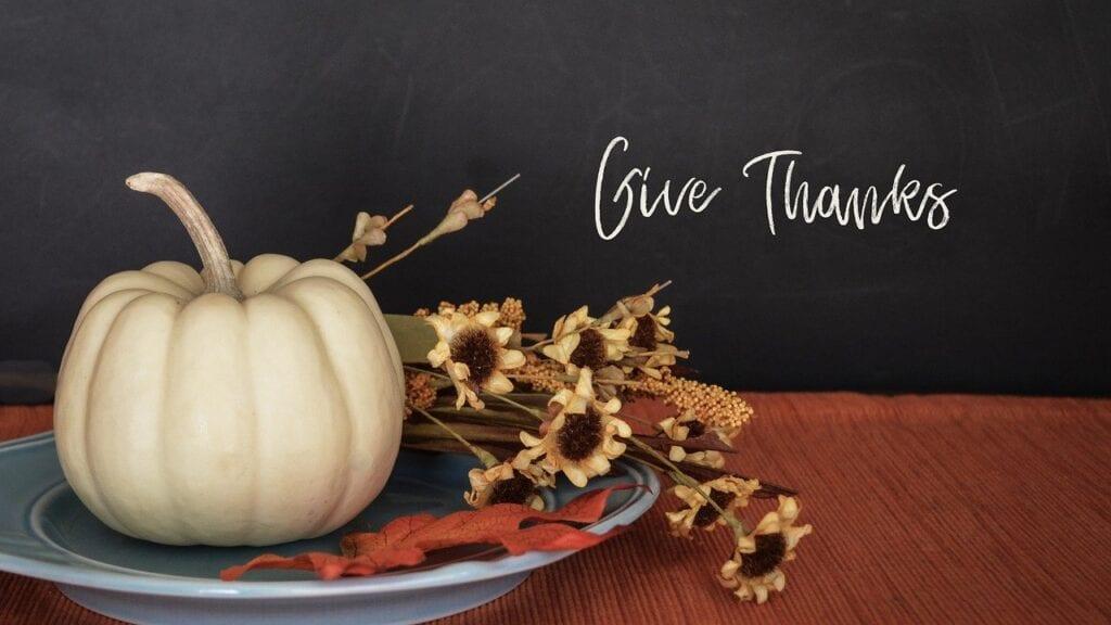"Thanksgiving flowers & pumpkin. ""Give Thanks."""