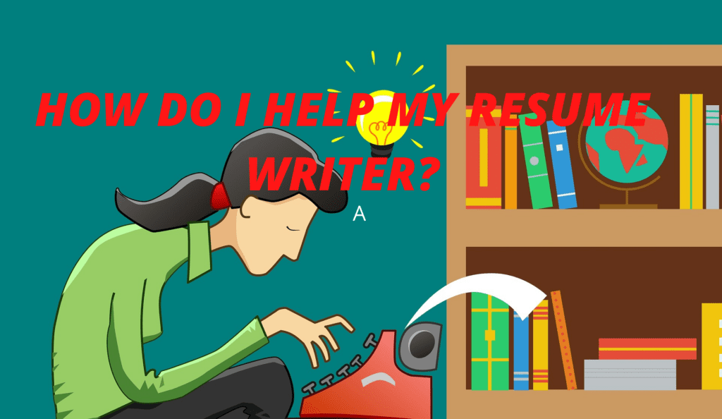 """Cartoon young woman typing. How can you help your resume writer?"""""""