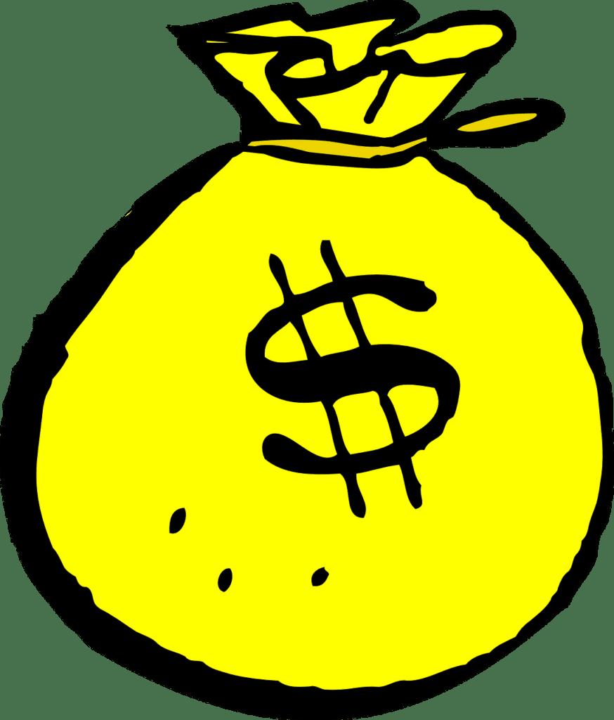 Cartoon image of a yellow moneybag